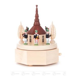 Musikdose Musikdose mit Seiffener Kirche und Bergleuten, Figuren farbig Breite x Höhe x Tiefe 12 cmx16 cmx12 cm NEU