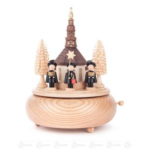 Musikdose Musikdose mit Seiffener Kirche und Kurrende, Figuren schwarz Breite x Höhe x Tiefe 15 cmx20 cmx15 cm NEU