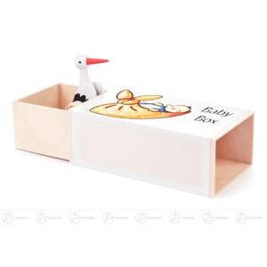 "Musikdose Musikdose ""Baby-Box"" mit Storch Höhe ca 6 cm NEU"