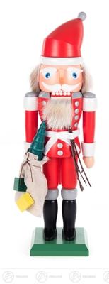 Nussknacker Weihnachtsmann rot, mit Rute und Geschenkesack Höhe ca 32 cm NEU