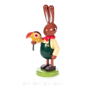 Ostern & Frühjahr Hase mit Blumenstrauß groß Breite x Höhe x Tiefe 7,7 cmx17 cmx8,5 cm NEU