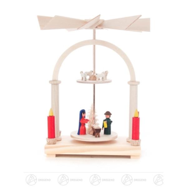 Pyramide Wärmespiel mit Christi Geburt, 2-stöckig Breite x Höhe x Tiefe 9 cmx12 cmx9 cm NEU