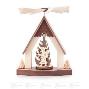 Pyramide Wärmespiel Haus Weihnachtsmann Breite x Höhe x Tiefe 9 cmx12 cmx9 cm NEU