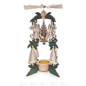 Pyramide Wärmespiel mit Engeln und Weihnachtsmann, für Teelicht Breite x Höhe x Tiefe 13 cmx22 cmx13 cm NEU