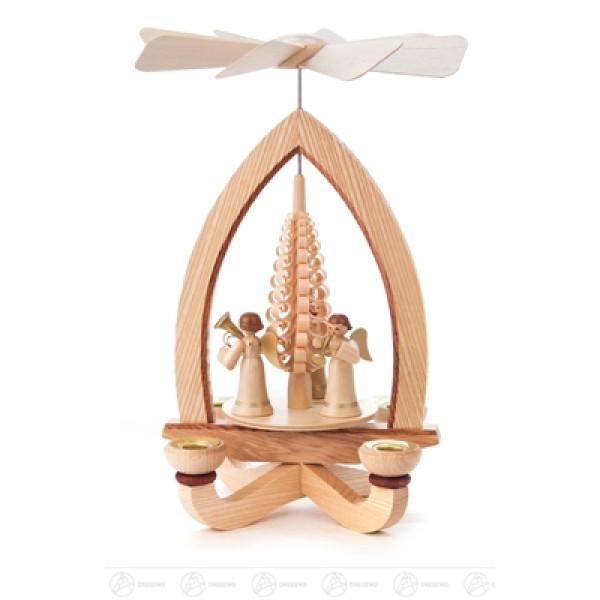 Pyramide mit Engeln, für Kerzen d=14mm Breite x Höhe x Tiefe 19 cmx27 cmx19 cm NEU