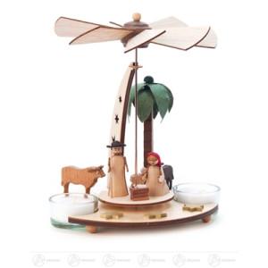Pyramide mit Christi Geburt, für Teelichte Breite x Höhe x Tiefe 16 cmx19 cmx14,5 cm NEU
