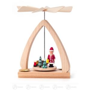 Pyramide mit Weihnachtsmann, für Kerzen d=14mm Breite x Höhe x Tiefe 12 cmx17 cmx6 cm NEU