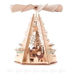 Pyramide mit Kindermotiv, für Teelichte Breite x Höhe x Tiefe 30 cmx32 cmx30 cm NEU