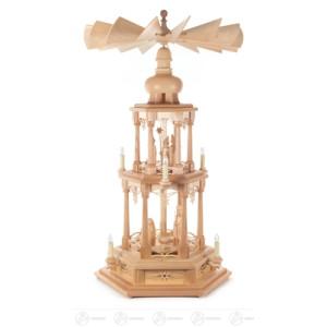 Pyramide mit Christi Geburt, 2-stöckig, elektr. Beleuchtung und Antrieb Breite x Höhe x Tiefe 50 cmx80 cmx50 cm NEU