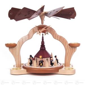 Pyramide mit Seiffener Kirche und Kurrende, für Teelichte Breite x Höhe x Tiefe 35 cmx31 cmx30,5 cm NEU