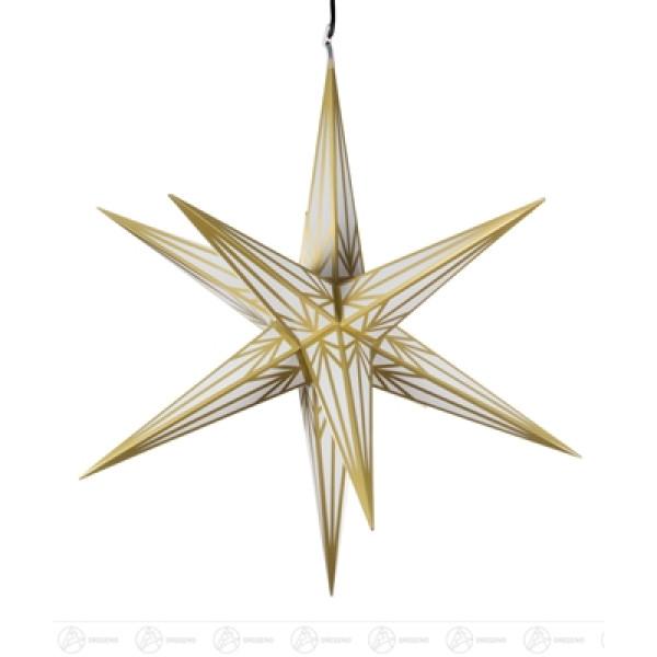 Raumschmuck Haßlauer Weihnachtsstern für außen weiß-gold, elektr. Beleuchtung Breite x Höhe x Tiefe 75 cmx75 cmx75 cm NEU