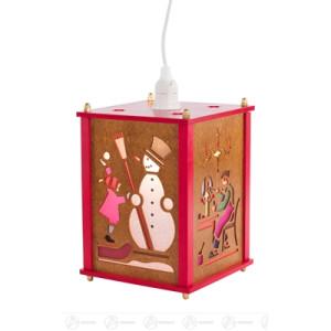 Raumschmuck Laterne mit Haus, Weihnachtsmann, Schneemann und Spielzeugmacher, elektr. Beleuchtung Breite x Höhe x Tiefe 15 cmx25 cmx15 cm NEU