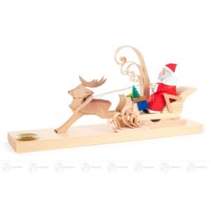 Schnitzerei Weihnachtsmann im Hirschschlitten, geschnitzt, für Kerze d=14mm Breite x Höhe x Tiefe 26 cmx12 cmx6 cm NEU