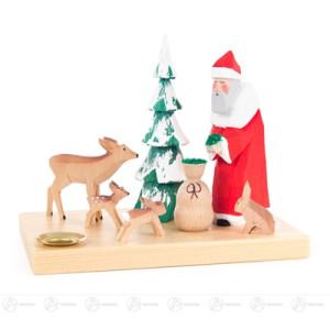 Schnitzerei Weihnachtsmann mit Waldtieren und Baum, geschnitzt, für Kerze d=14mm Breite x Höhe x Tiefe 15 cmx12 cmx10 cm NEU