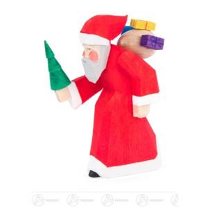 Schnitzerei Weihnachtsmann mit Geschenken und Baum, geschnitzt Höhe ca 7,5 cm NEU