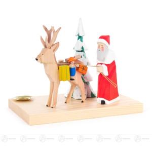 Schnitzerei Weihnachtsmann mit Hirsch und Baum, geschnitzt, für Kerze d=14mm Breite x Höhe x Tiefe 15,5 cmx11,5 cmx10 cm NEU