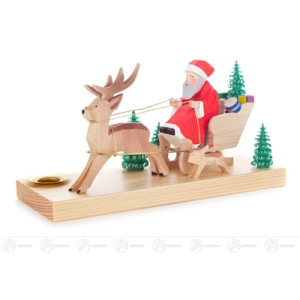 Schnitzerei Weihnachtsmann im Hirschschlitten mit Hase, geschnitzt, für Kerze d=14m Breite x Höhe x Tiefe 16 cmx8 cmx7 cm NEU