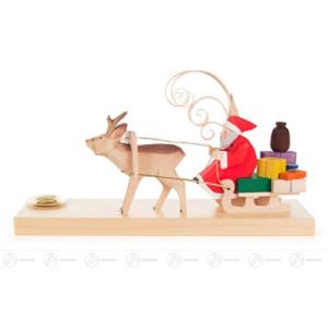 Schnitzerei Weihnachtsmann im Rehschlitten, geschnitzt Breite x Höhe x Tiefe 20 cmx11,5 cmx5,5 cm NEU