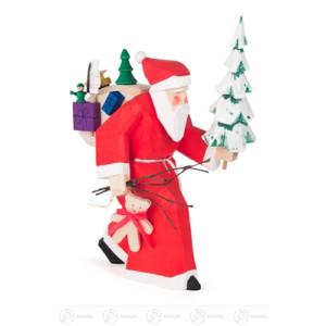 Schnitzerei Weihnachtsmann mit Geschenken und Baum, geschnitzt Höhe ca 21,5 cm NEU