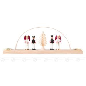 Schwibbogen mit Engeln und Bergmännern, für Kerzen d=10mm Breite x Höhe x Tiefe 25 cmx8,5 cmx3 cm NEU