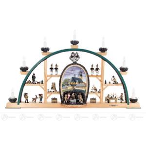 """Schwibbogen """"St. Wolfgangkirche zu Schneeberg"""" mit Bergwerk und Erzgebirgsfiguren, elektrisch beleuchtet Breite x Höhe x Tiefe 69,5 cmx40 cmx5 cm NEU"""