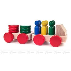 Spielzeug Holzauto mit Anhänger, zerlegbar Breite x Höhe ca 23,5 cmx8 cm NEU