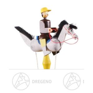 Spielzeug Pendelreiter braun auf Schimmel Höhe ca 15,5 cm NEU