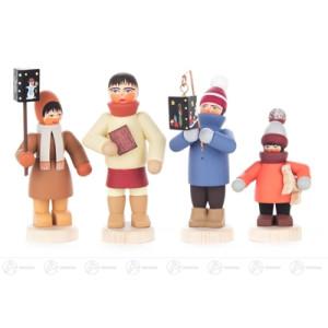 Weihnachtliche Miniatur Mettengänger 4 Kinder, Satz 10 (2004) Breite x Höhe x Tiefe 3,5 cmx7 cmx1,5 cm NEU