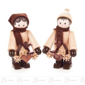 Weihnachtliche Miniatur Striezelkinder klein natur (2) Breite x Höhe x Tiefe 3 cmx5,5 cmx3 cm NEU
