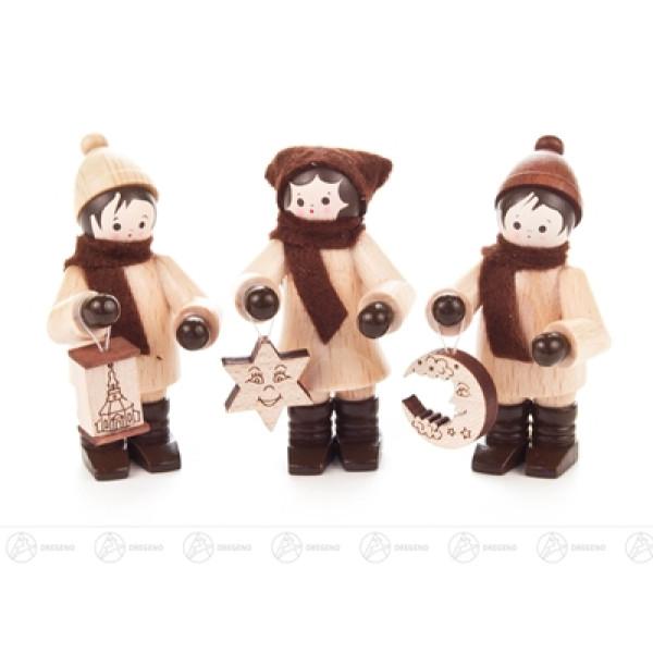 Weihnachtliche Miniatur Lampionkinder (3) Höhe ca 5,5 cm NEU