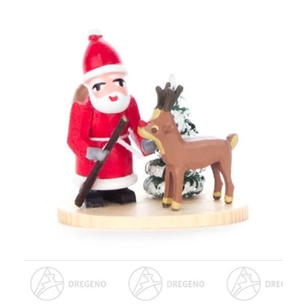 """Weihnachtliche Miniatur Weihnachtsmann mit Rentier """"Rudi mit der roten Nase"""" und Baum Breite x Höhe x Tiefe 3 cmx3 cmx2 cm NEU"""