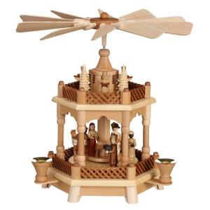 Pyramide Christi Geburt mit Engeln natur BxHxT 32x30x32cm NEU