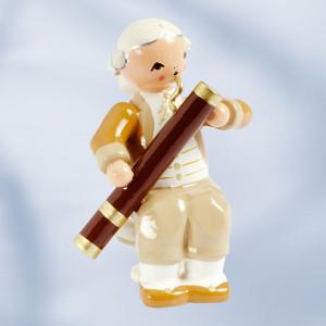 Holzfigur Mozart- Orchester Musiker mit Fagott, sitzend Höhe ca 5 cm NEU