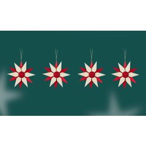 Baumbehang Holzsterne Rot 4er Set BxHxT=8x8x2cm NEU