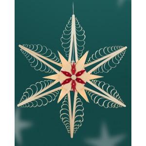 Fensterschmuck Spanstern el. Beleuchtet Mitte mit 2 Sterne BxHxT=54x54x6cm NEU