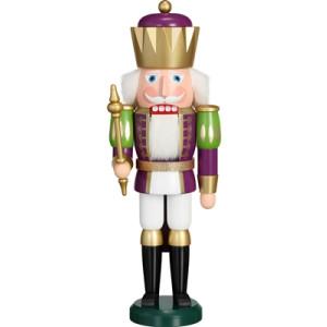 Weihnachtsdekoration Nußknacker König purpur weiß HxBxT = 40x14x12cm NEU