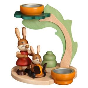 Osterdekoration Teelichthalter mit Hasenmama und Kind HxLxB 16,5cmx15cmx14cm NEU