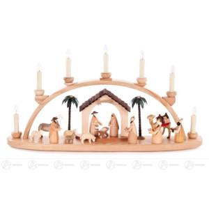 Schwibbogen mit Christi Geburt natur, elektrisch beleuchtet Breite x Höhe x Tiefe 60 cmx31 cmx10 cm NEU
