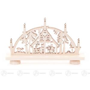 Schwibbogen Mini-Schwibbogen mit Erzgebirgshaus Breite x Höhe x Tiefe 7,5 cmx4,5 cmx1 cm NEU
