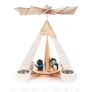 Pyramide mit Pinguinen weiß, für Teelichte BxHxT 245 x 290 x 245mm NEU