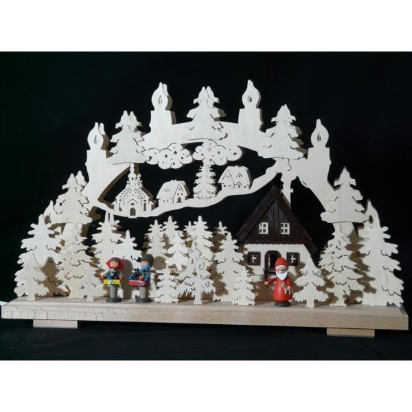 Beleuchteter Schwibbogen mit Weihnachtsmann und Stritzelkinder Größe =50x31cm NEU