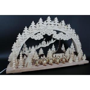 Beleuchteter Schwibbogen mit Bergkapelle Natur Größe =70x43cm NEU