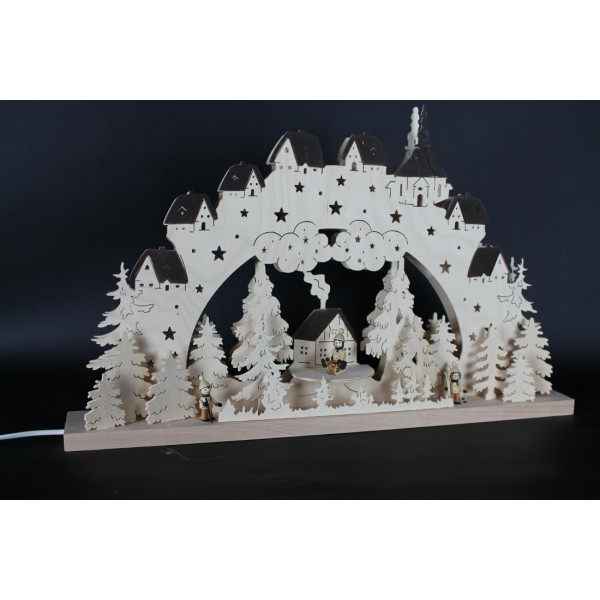 Beleuchteter Schwibbogen Winterkinder mit Häuschen Größe =60x39cm NEU