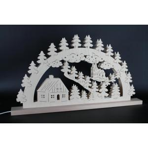 Beleuchteter Schwibbogen Haus mit Kirche Größe =60x33cm NEU