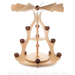 Massivholzpyramide Ohne Kugeln (Teelichthalter und Nabe für Flügelrad), Flügelblätter sind enthalten BxHxT =64×85×64cm NEU