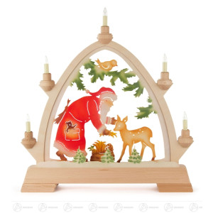 Rundbogen Weihnachtsmann mit Reh farbig, elektrisch beleuchtet BxHxT = 42x42,5x6,5cm NEU