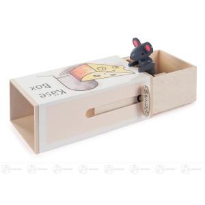 Musikdose »Käse-Box« mit Maus, Melodie: Small World Höhe = 6cm NEU