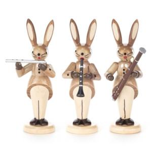 Hasentrio mit Querflöte, Klarinette und Fagott, natur Höhe = 8cm NEU