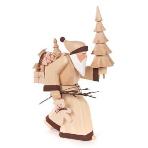 Weihnachtsmann mit Baum geschnitzt, natur BxHxT = 13x24x10cm NEU