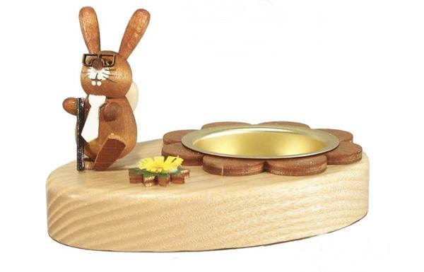 Teelichthalter mit Osterhase mit Schlips Höhe ca 6cm NEU